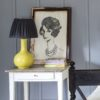 Plain Charcoal Ruched Shade on Yellow Lamp
