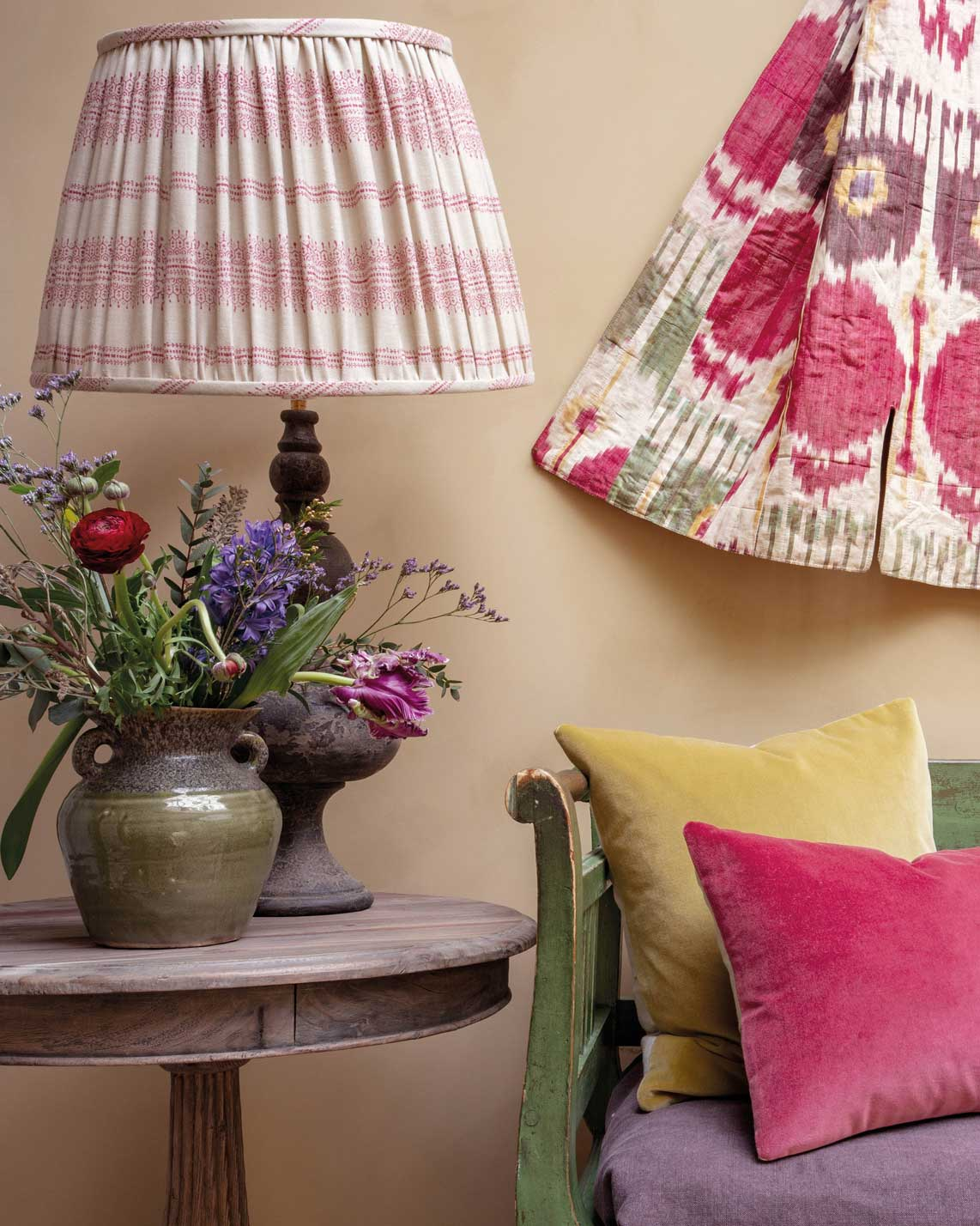 Camille-Light-Pink-Ruched-Shade-and-Velvet-Cushions