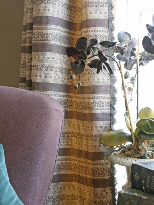 Anoushka Aubergine Curtain with Fan Edge Charcoal