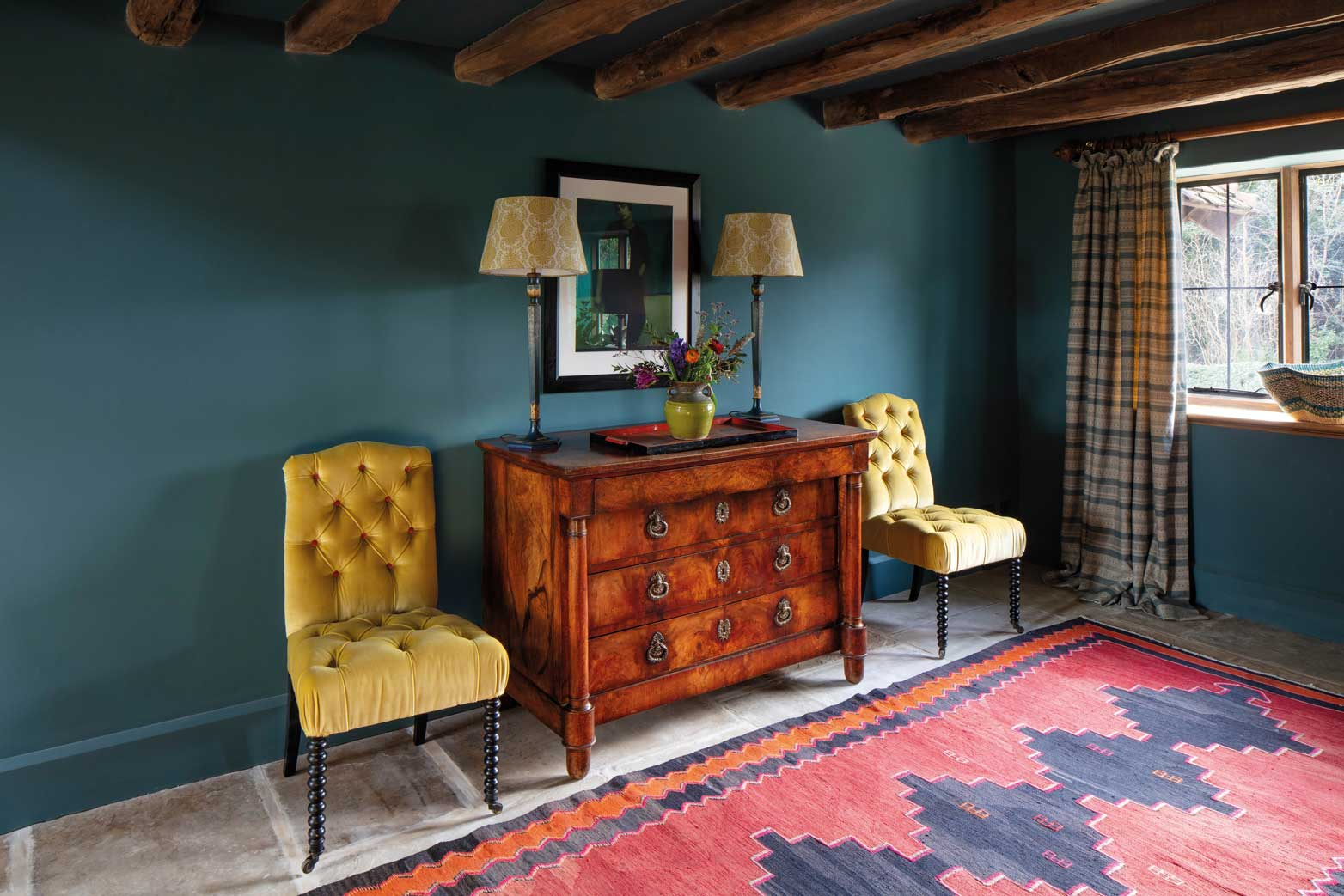 Yellow Velvet Chairs and Anoushka Teal Curtain