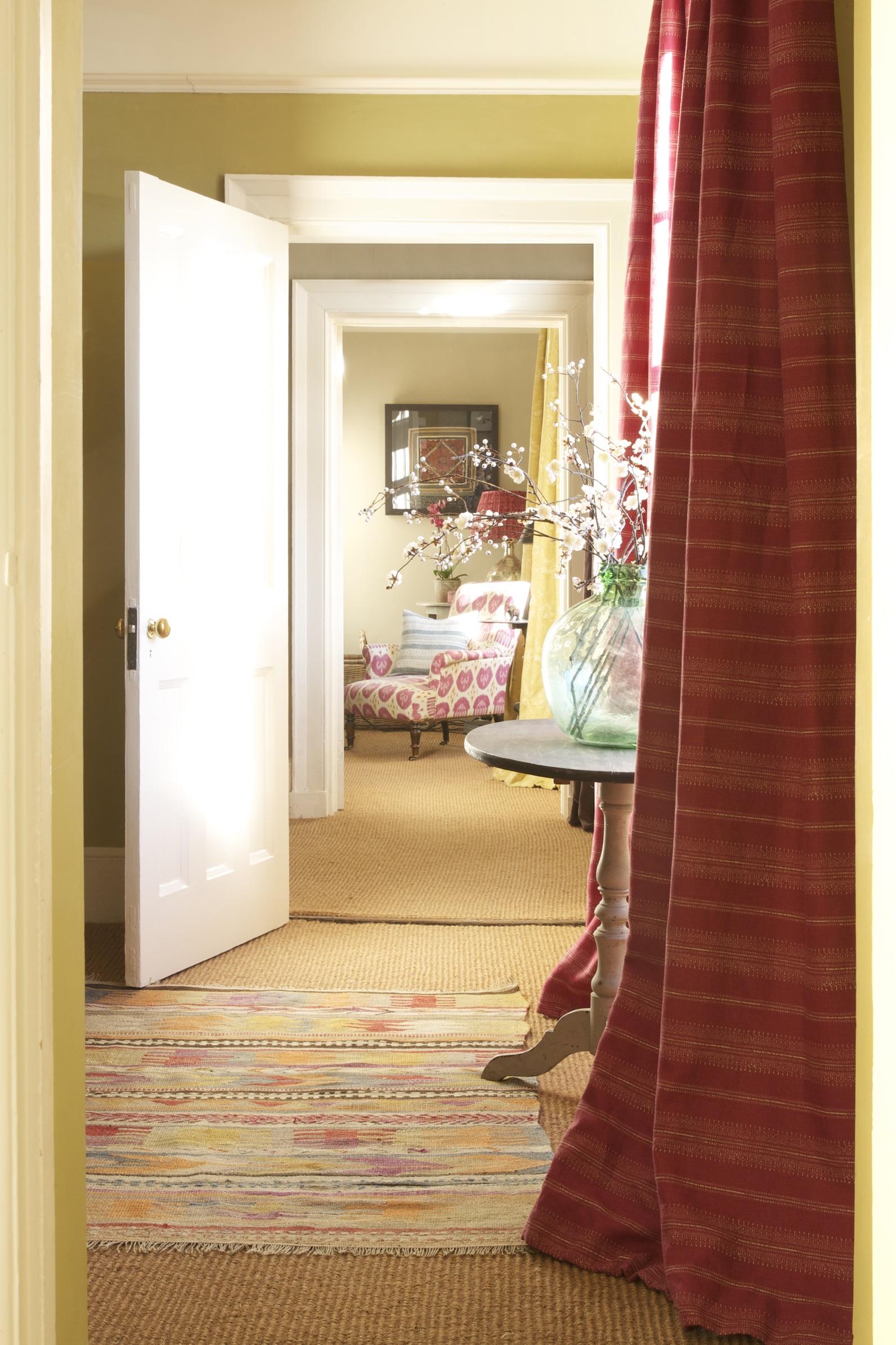 camille dark pink curtain corridor