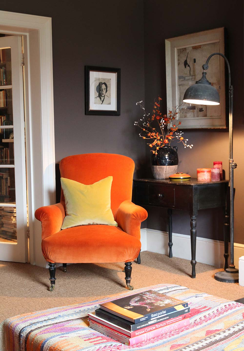 Kate Forman Orange velvet roomset