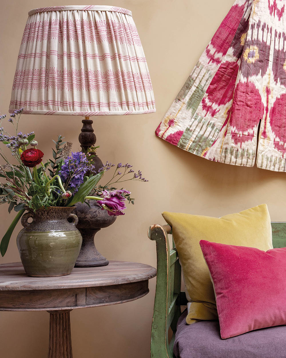 Camille Light Pink Ruched Shade and Velvet Cushions