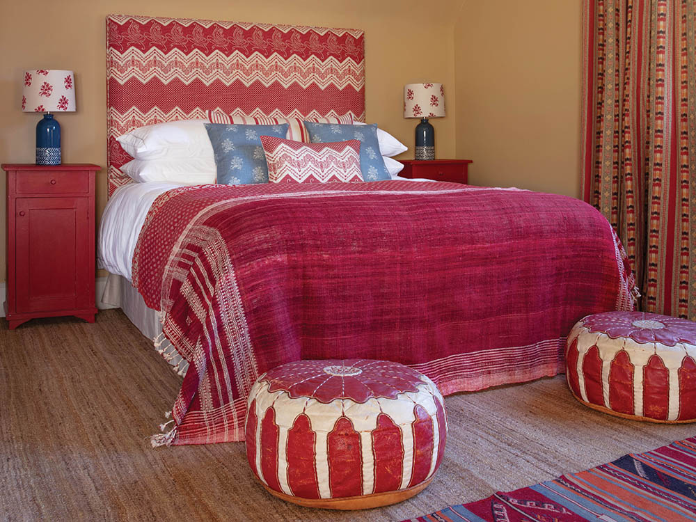 Ikat Curtains and Elodie Red Headboard