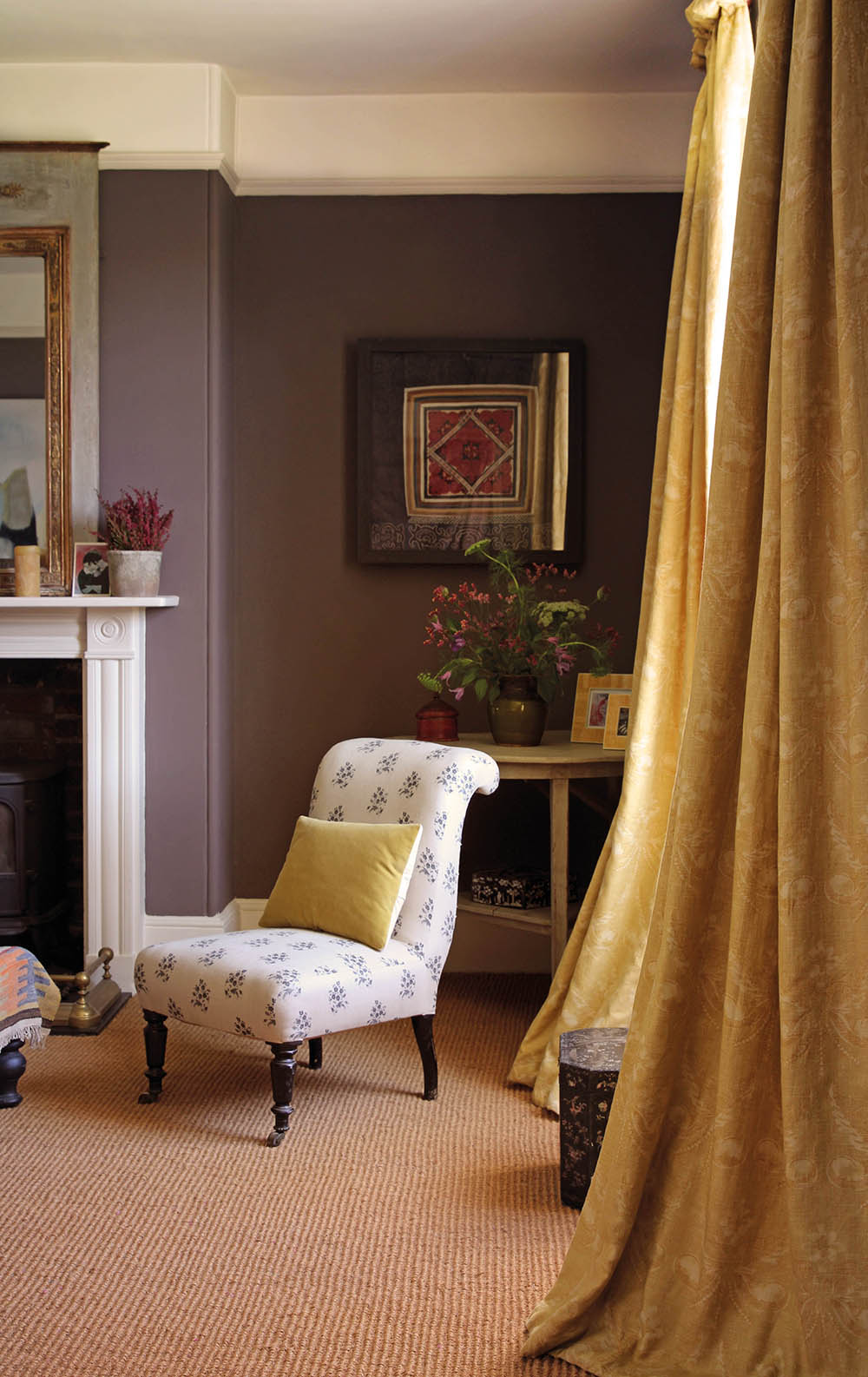 Josephine Yellow Curtain and Agnes Charcoal Chair